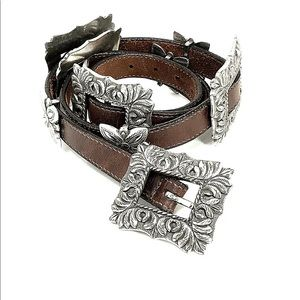 Brighton Brown Leather Square Concho Belt Vintage